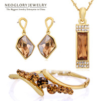 Neoglory MADE WITH SWAROVSKI ELEMENTS Crystal 14K Gold Plated Rhinestone Jewelry Set For Female Brand Sale