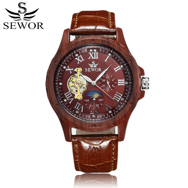 SEWOR Mechanical Automatic Self Wind Watch Men Skeleton Leather Watch Fashion Casual Man Moon Phase Wristwatches With Box SWQ41 2015 new fashion brand pu leather strap men automatic mechanical watch skeleton self wind watch for man dress casual wristwatch