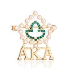 Os Recém-chegados Pérola Strass Broche de folha de Ouro AKA Irmandade Alpha  Alpha K Pin Broches Para Mulheres Jóias a0b1ead2583