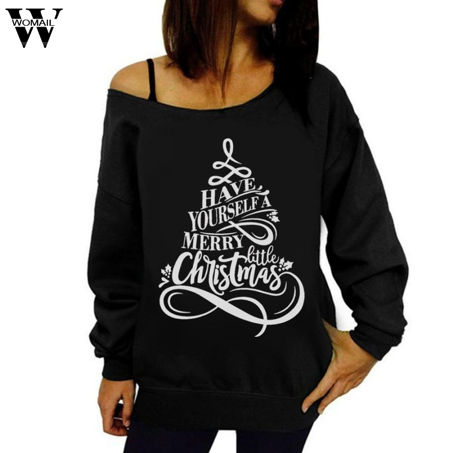 2017 Womens Printed Letter Christmas Long Sleeve Sweatshirt Pullover oct30