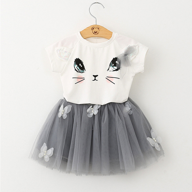 Girls 2019 Summer New Baby Girls Clothing Sets Fashion Style Cartoon Kitten Printed T-Shirts+Net Veil Dress 2Pcs Girls Clothes 2