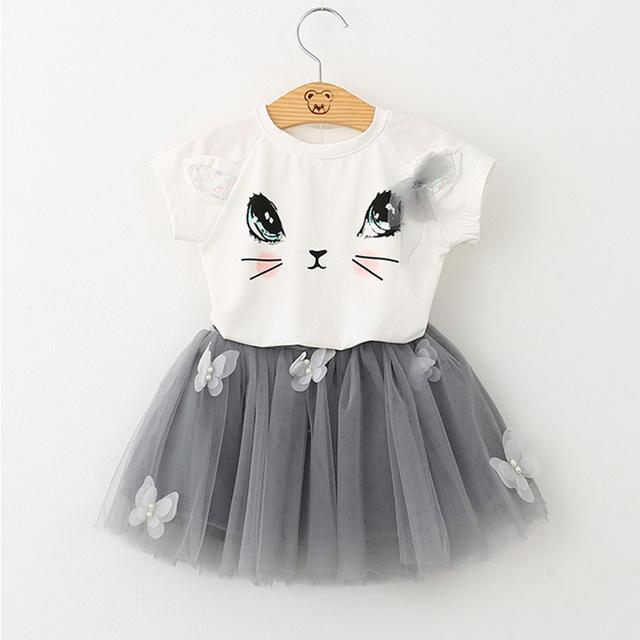 Girls 2019 Summer New Baby Girls Clothing Sets Fashion Style Cartoon Kitten Printed T-Shirts+Net Veil Dress 2Pcs Girls Clothes