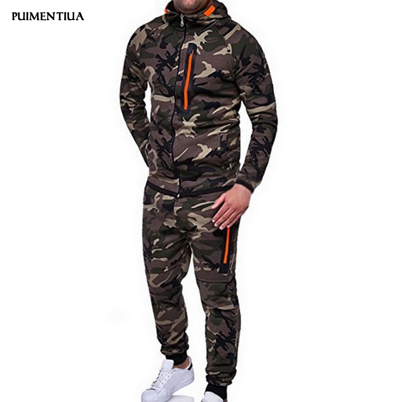 Puimentiua 2019 Tracksuit Men Camo Hoodies Pant Set Sweatshirts Hoodie Males Sportswear Suits Casual Slim Fit Long Sleeves Coat