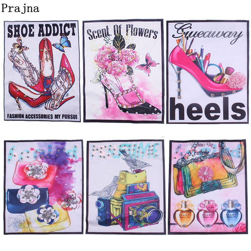 Prajna Heels Bags Patches For Clothing Flower Sequined Shoe Addict Sew On Cat Stickers For Jeans T-shirts DIY Clothing For Girls