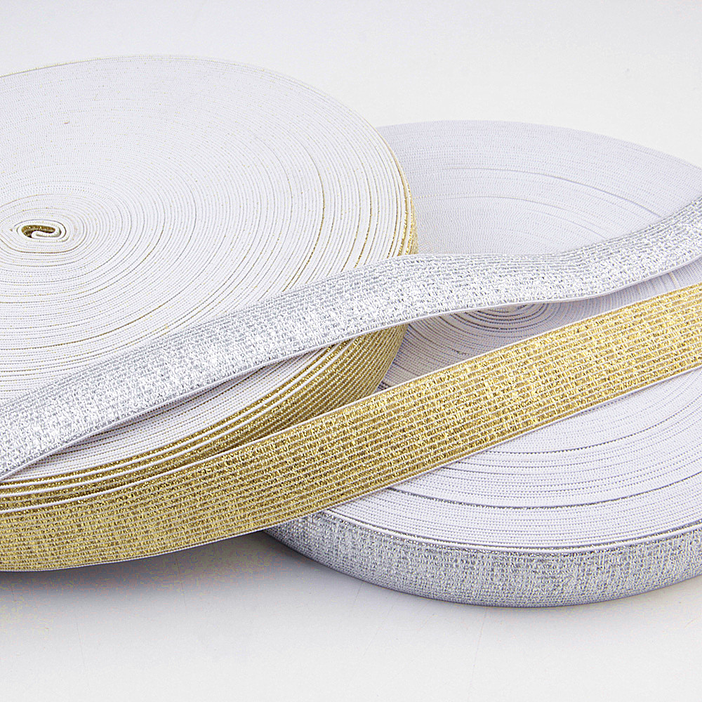 Glitter Elastic Bands 25MM Width 2meters/package Gold Silver High Quality Nylon  For Garment Trousers Sewing Accessories DIY