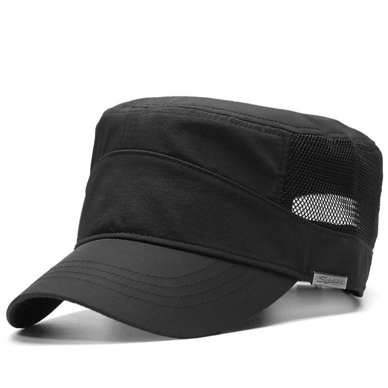 Big Head Man Plus Size Flat Top Cap Men Summer Thin Fabric Mesh Sun Hat Male Army Hats 56-62cm