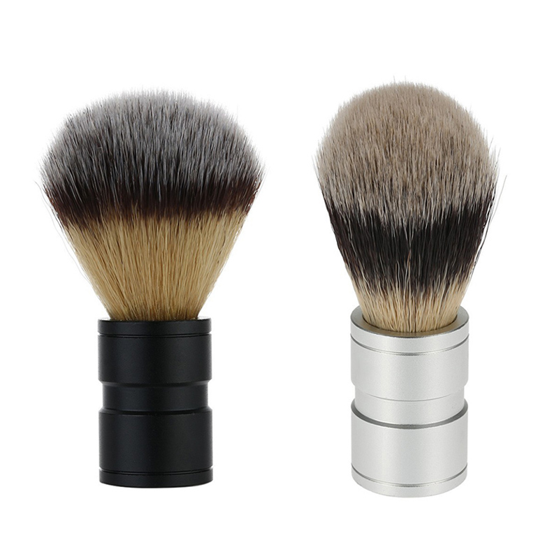 Professional Black Or Silver Nylon Shaving Brush Aluminum Handle Mustache Beard Brushes Men Cleansing Barber
