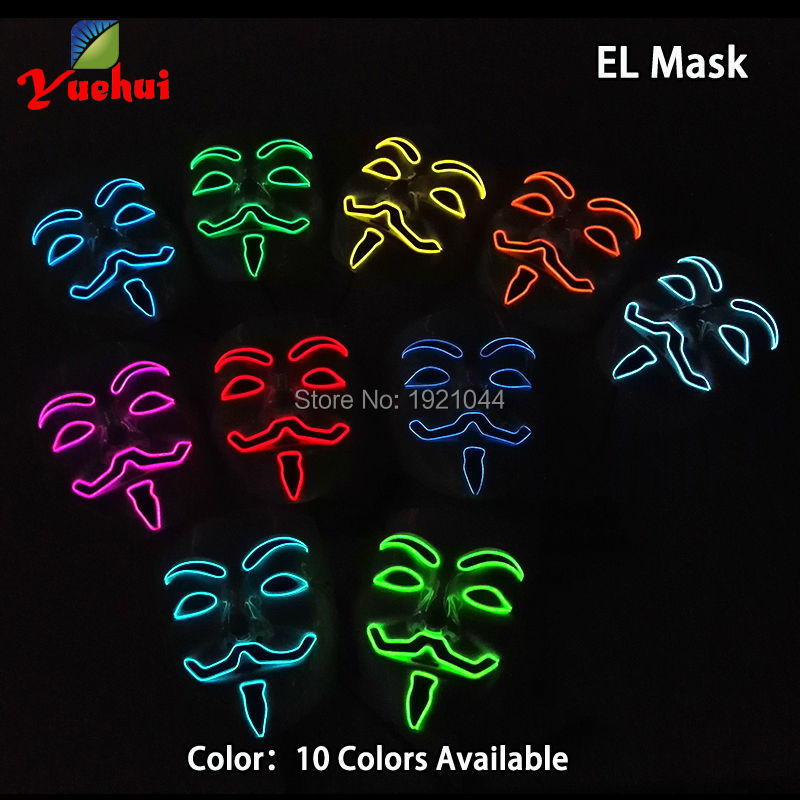 EL Wire Vendetta Glowing Mask for Glow Party Decoration Supplies with DC-3V Steady on Inverter 10pieces a pack