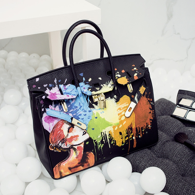 2018 New Fashion Graffiti Women Shoulder Bags Top-handle Bags Messenger bags Ladies Bags leather handbags S148 2018 new fashion top handle bags women cowhide genuine leather handbags casual bucket bags women bags rivet shoulder bags 836