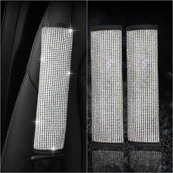 2 Stks/set Seat Belt Cover Auto Accessoires Bling Stijlvolle Rhinestone Seat Belt Schouder Pad Cover Kussen