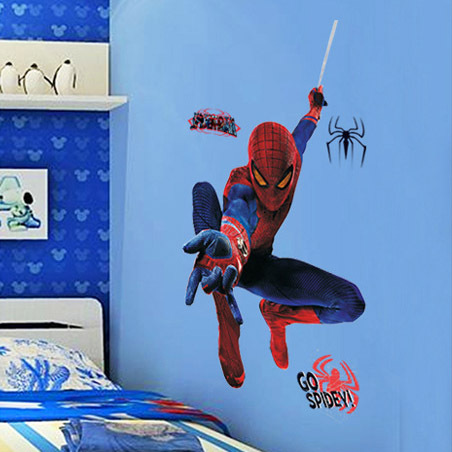 The brave spider man design wall stickers diy 3d pegatinas de pared for home boys room