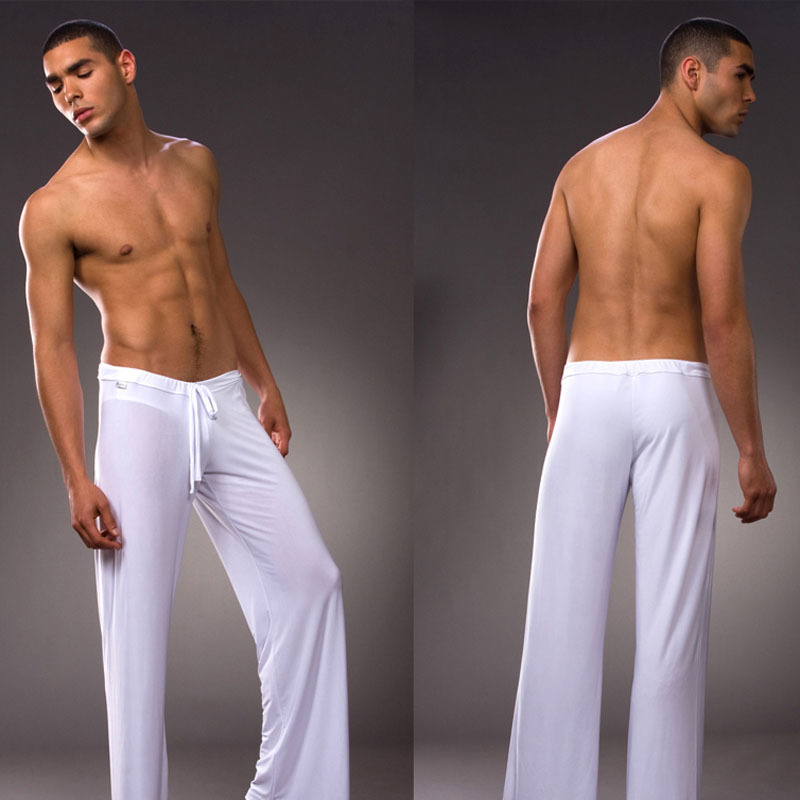 Men 's home pants low - waist fashion sexy loose slippery home pants ice silk Long-sleeved Loungewear(China)