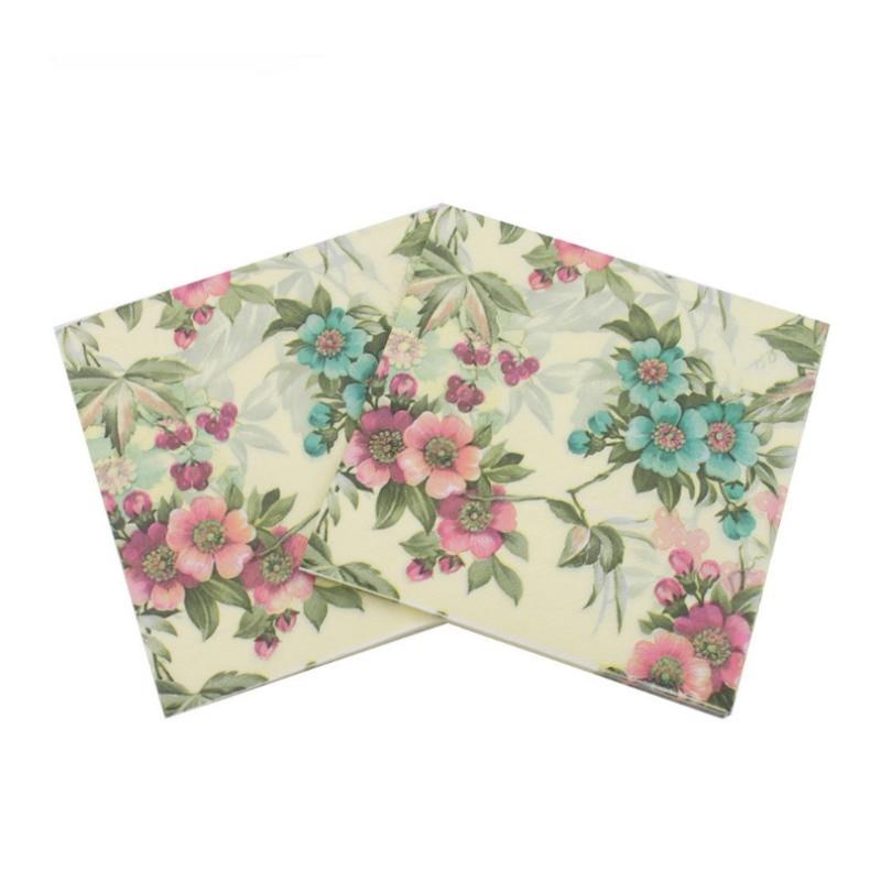 Event Party 33cm * 33cm 20pcs / pack / lot Table Napkin Beauty Printed Tissue Feature Decoration Pink Paper Napkins