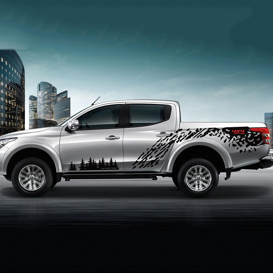 car stickers 4pc mudslinger trees body side door rear tail stripe graphic vinyl decals for MITSUBISHI L200 TRITON2015