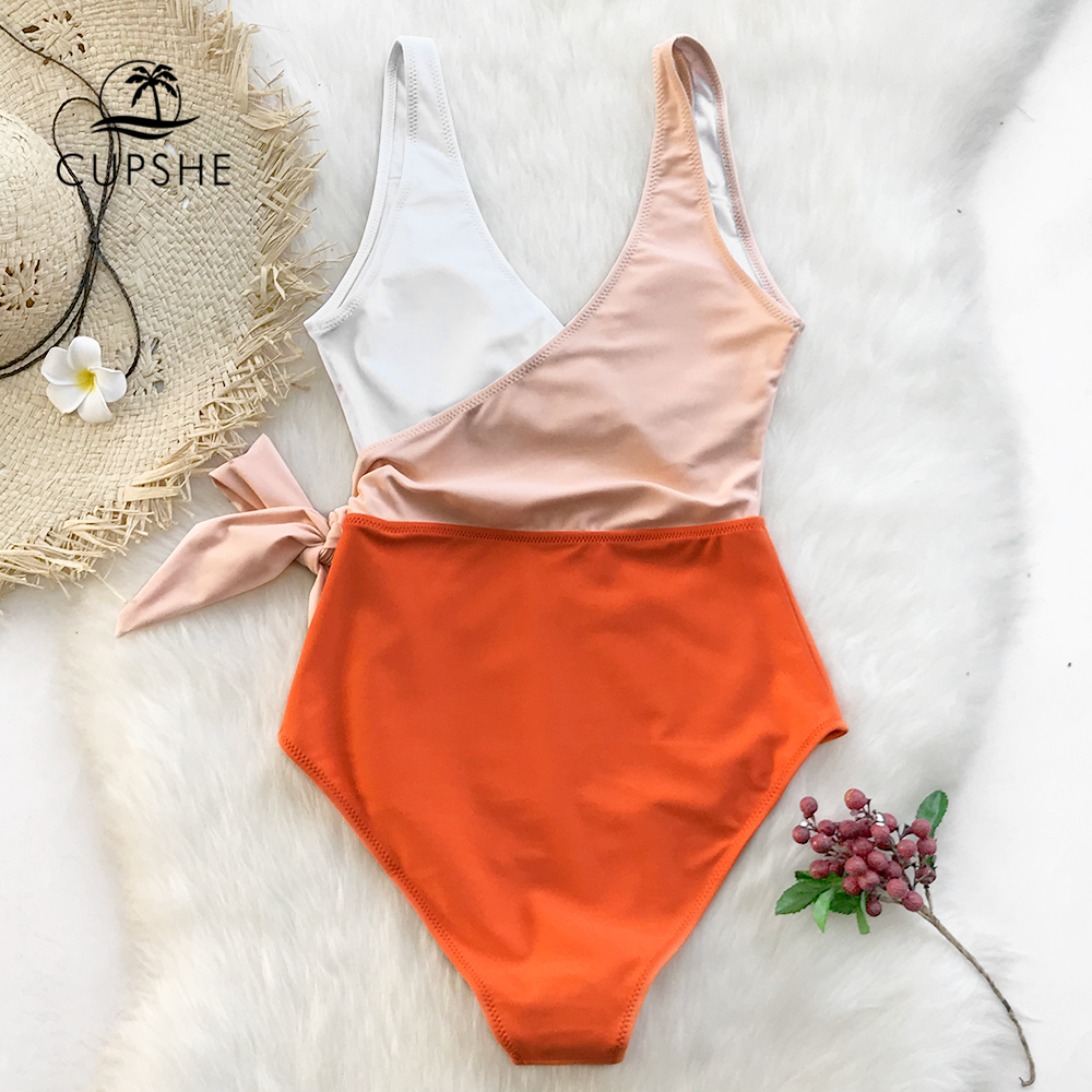 Cupshe Yellow And White Colorblock One-piece Swimsuit Women Patchwork Belt Bow Monokini 2019 V-neck Beach Bathing Suit Swimwear 1