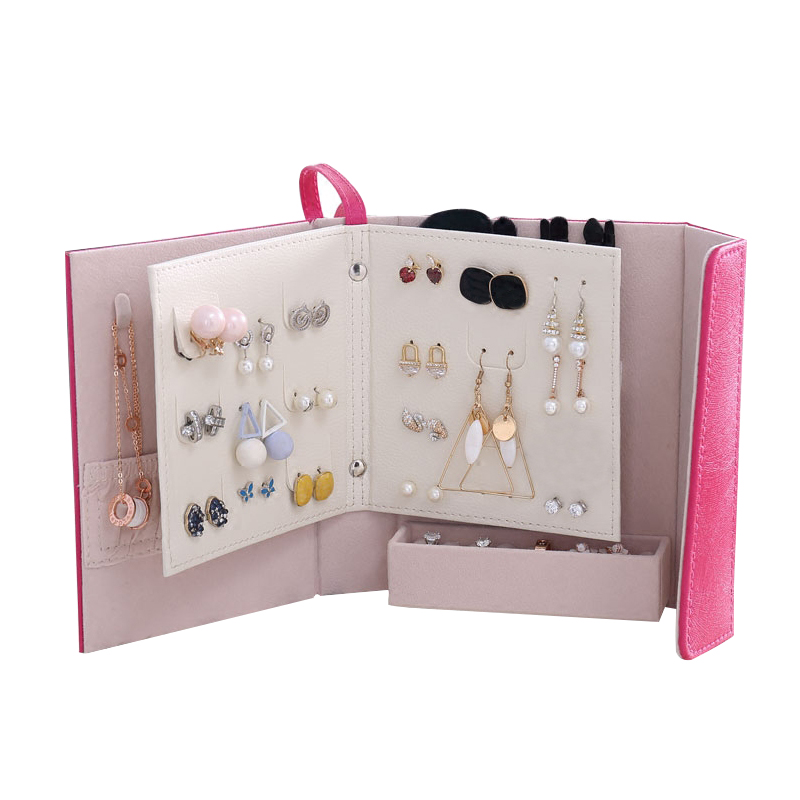 Women Fashion Makeup Organizers Travel Earrings Necklace Rings Collection Book Jewelry Display Box Wholesale Accessories Case