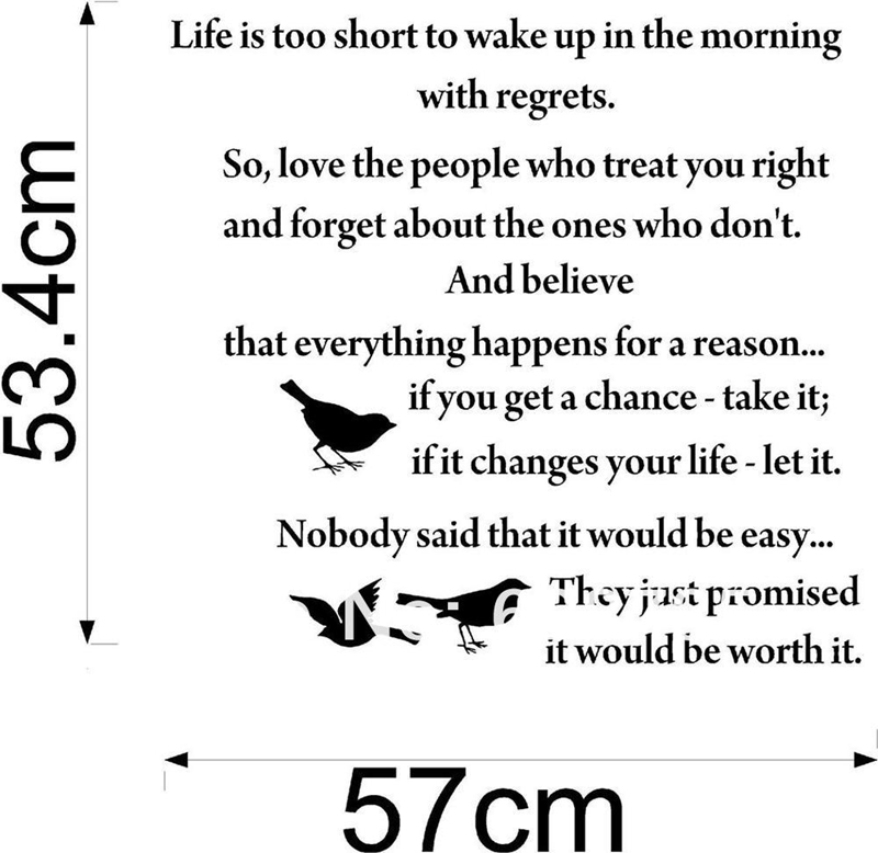 life is too short inspirational poems wall art quote decal vinyl