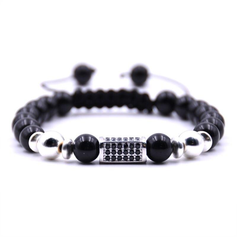 KANGKANG 2019 fashion Bright black 8mm Stone Weaving Bracelet Pave CZ 4 color cuboid Bracelets for Men Women Creative Jewelry in Strand Bracelets from Jewelry Accessories