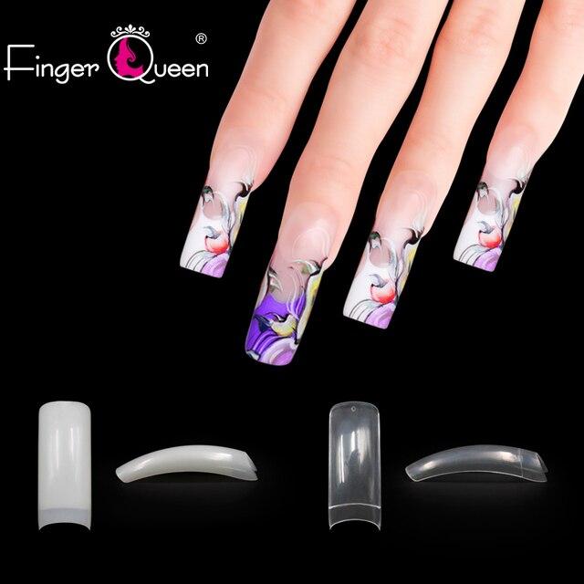FingerQueen 100PCS +Box Ballerina Half Nail Tips Natural/Clear Coffin False Nails ABS Artificial DIY False Fake UV Gel Nail Art