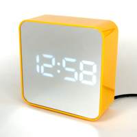 2017 Hot Electronic Digital Snooze Function LED Alarm Clock Simple And Elegant Mirror White Light Battery Bedside Table Watch