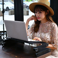 360 Degree Adjustable Laptop Table Portable Computer Desk Bed Laptop Stand Tray Desk With Cooling Fan