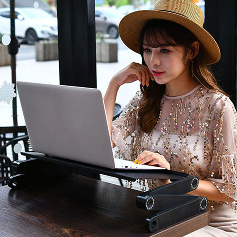 360 Degree Adjustable Laptop Table Portable Computer Desk Bed Laptop Stand Tray Desk With Cooling Fan Mouse Pad Laptop Tables aluminum alloy adjustable laptop desk lapdesks computer table stand notebook with cooling fan mouse board for bed sofa tray