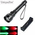 UniqueFire 300LM мощный светодиодный фонарик UF-1502 XR-E Zoom 3 режима T38 выпуклая линза фонарь (G/W/R)+ одно зарядное устройство