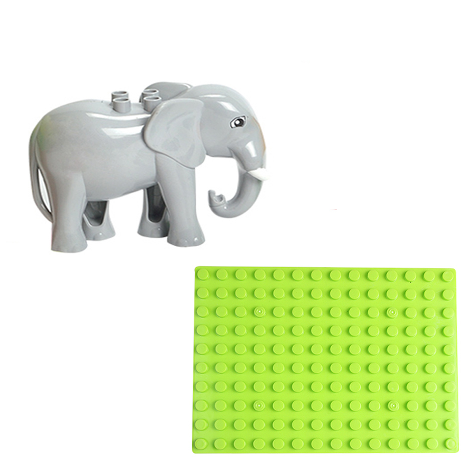 140dots Baseplate Set Elephant Assemble Bricks Big Particle Building Blocks accessory Compatible with Duploe Baby DIY Toy gift cubicfun 3d puzzle paper building model assemble gift diy baby toy the hall of supreme harmony world s great architecture mc127h