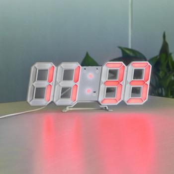 3D USB LED Digital Wall Clock Electronic Desk Table Desktop Alarm Clock 12/24 Hours Display Home Decoration Wake up night lights 16