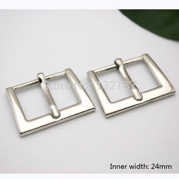 Оптовая продажа 24 мм Мода цинковый сплав металлическая пряжка с пин блестящие серебряные никель ремень Bucke полированный bk-053