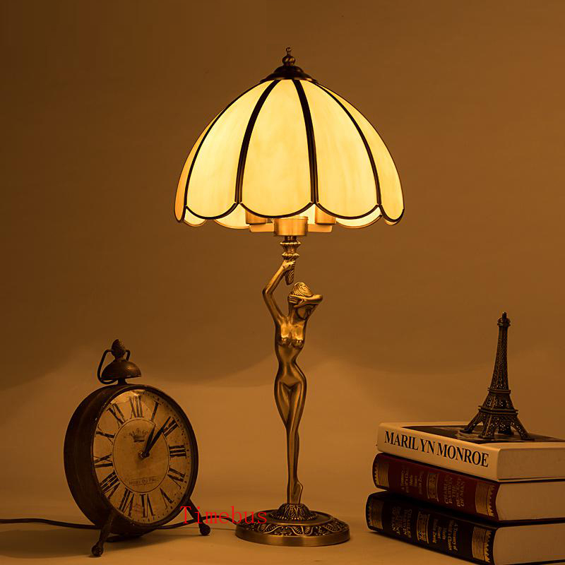 US $390.6 16% OFF|Contemporary Table Lamp Bedroom led Table Lamps Study  Decorative Light Copper Retro Desk Lamp brass Table Lights Vintage Loft-in  LED ...
