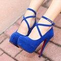 Zapatos de Mujer Primavera Zapatos Sigle de Gamuza Impermeable zapatos de tacón alto de Gran Tamaño 35-42 Zapatos de Boda Hebilla Sexy Femenina zapatos Sapatos