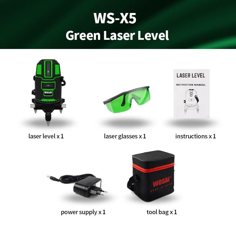 WOSAI Green Laser Level 5 linii 6 punktów Laser Level Automatyczne - Przyrządy pomiarowe - Zdjęcie 6