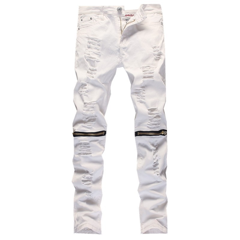 ФОТО 2016 New Male Jeans White Ripped Knee Hole Club Jeans Men Brand Slim Fit Cut Destroyed Torn Jean Pants For Male Homme