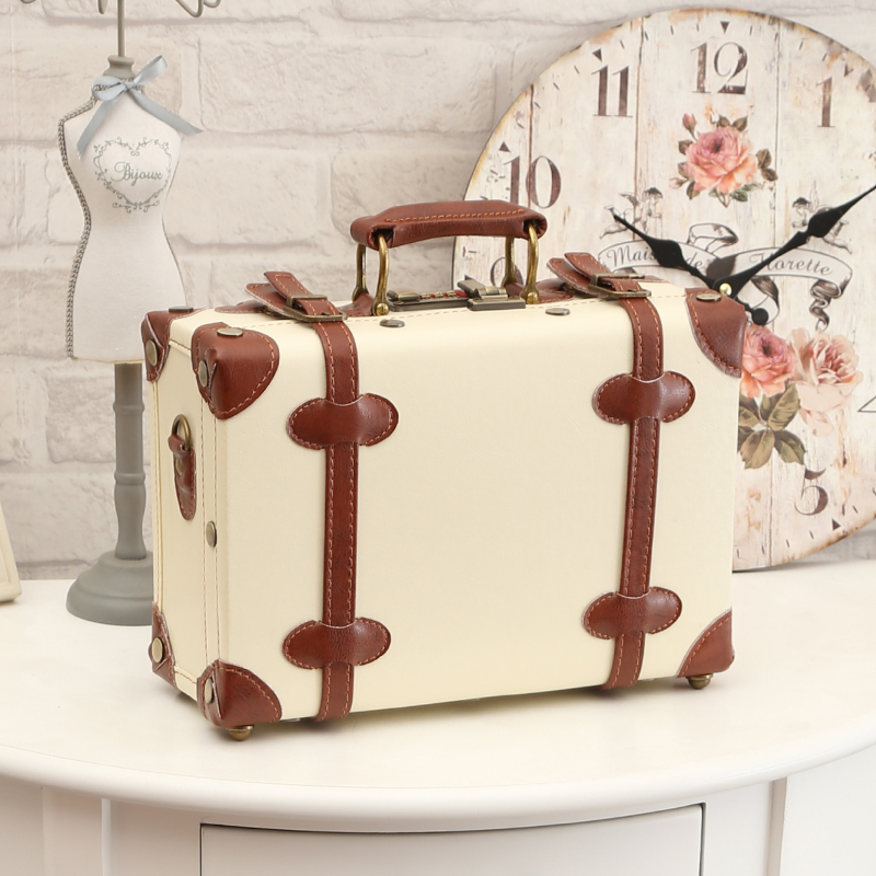 """Decorative Luggage Box Simple 12"""" 13"""" Inch Waterproof Vintage Trunk Box Case Bag Luggage Small Design Decoration"""
