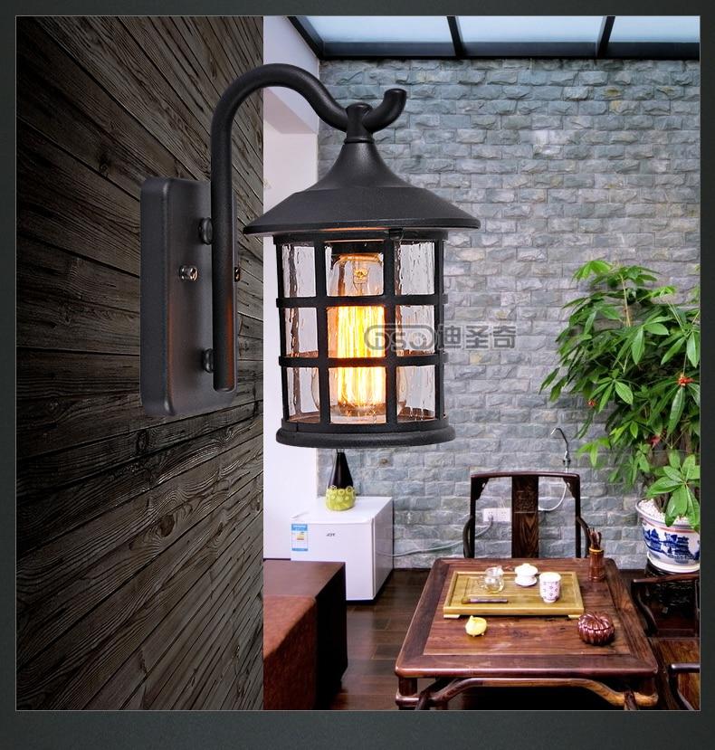Wall Lamp Lantern : Antique Rustic Iron Waterproof Outdoor Wall Lamp Vintage Kerosene Lantern Light Rusty Matte ...