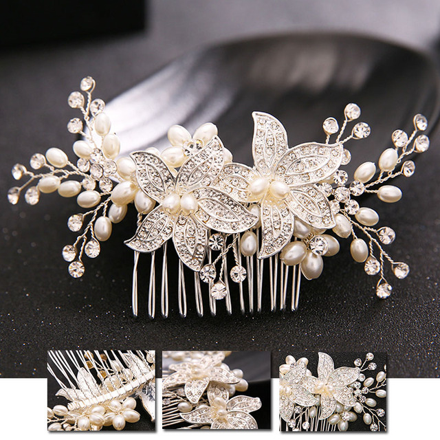 New Party Supplies Crystal Diamond Pearl Tiara Comb Wedding Decoration Gift For Women Girl Headdress Decoration BS