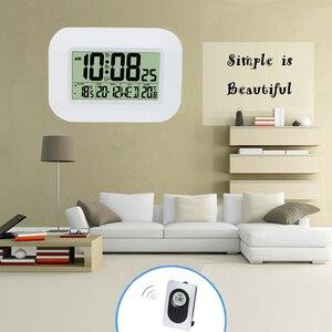 Image 3 - ビッグ液晶デジタル壁時計温度計温度電波アラーム時計rccテーブル卓上カレンダーofficeの