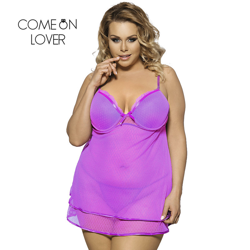 Comeonlover Ropa Sexy Mujer Intima Picardias Purple Sheer Mesh Erotic Lingerie Porno Costumes Large Size Lace Sleepwear RI70041