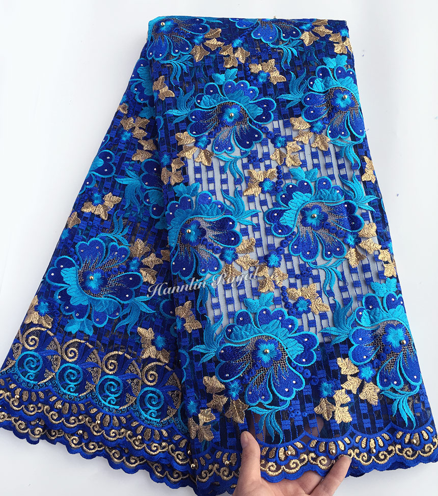 Royal blue Gold bridal French lace African sewing tulle lace fabric with lots of stones beads