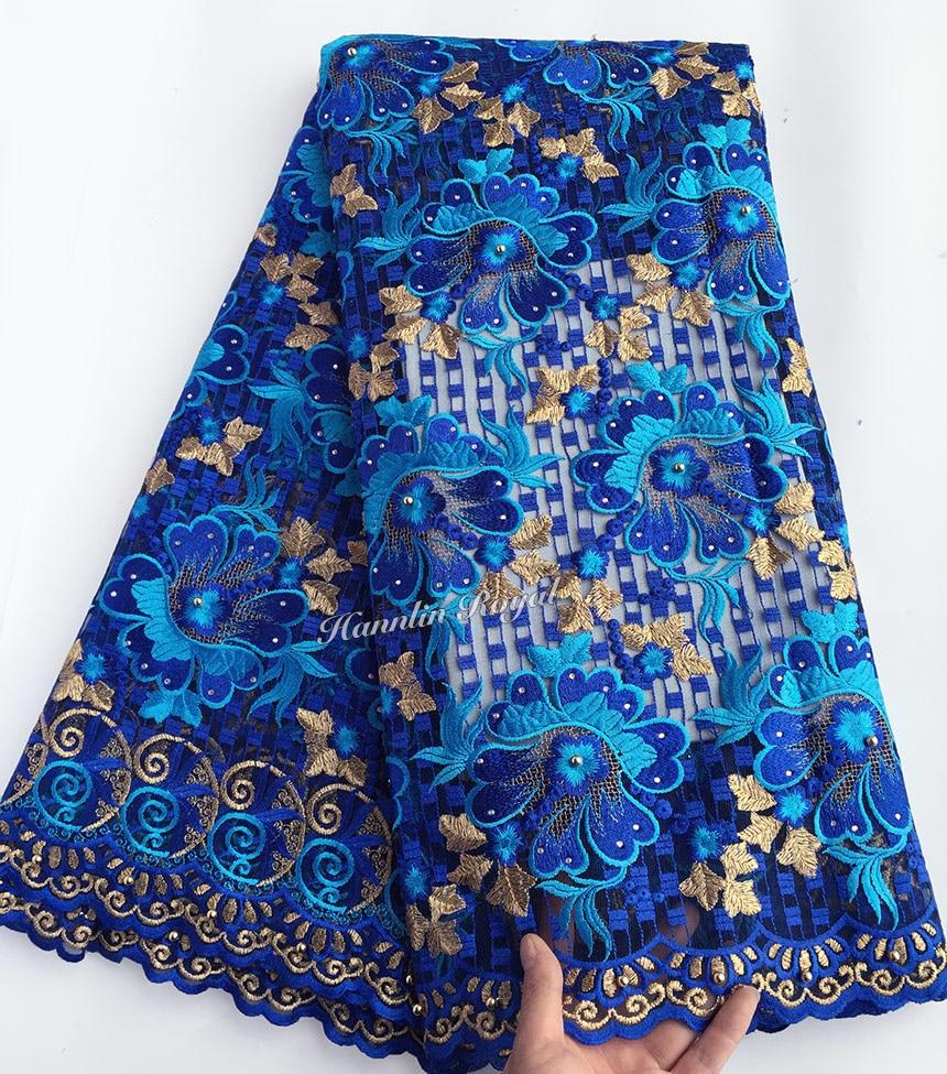 Royal blue da sposa In Oro Francese del merletto Africano per cucire tulle tessuto di pizzo con un sacco di pietre perline 5 metri Big heavy scelta saggia-in Pizzo da Casa e giardino su  Gruppo 1
