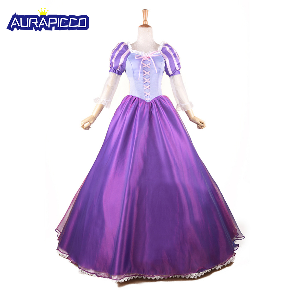 Princess Rapunzel Costume Adult Women Tangled Cosplay Rapunzel Princess Dress Halloween Party Ball Gown Prom Fancy Dress