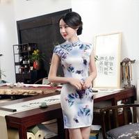 High Quality White Satin Handmade Button Mandarin Collar Cheongsam Chinese Vintage Print Qipao Flower Short Dress