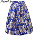 Neophil 2017 Retro Ladies Luxury Gold Floral Embroidered Women Skirts Midi Pleated High Waist Flare Ball Gown Skater Saia S1224