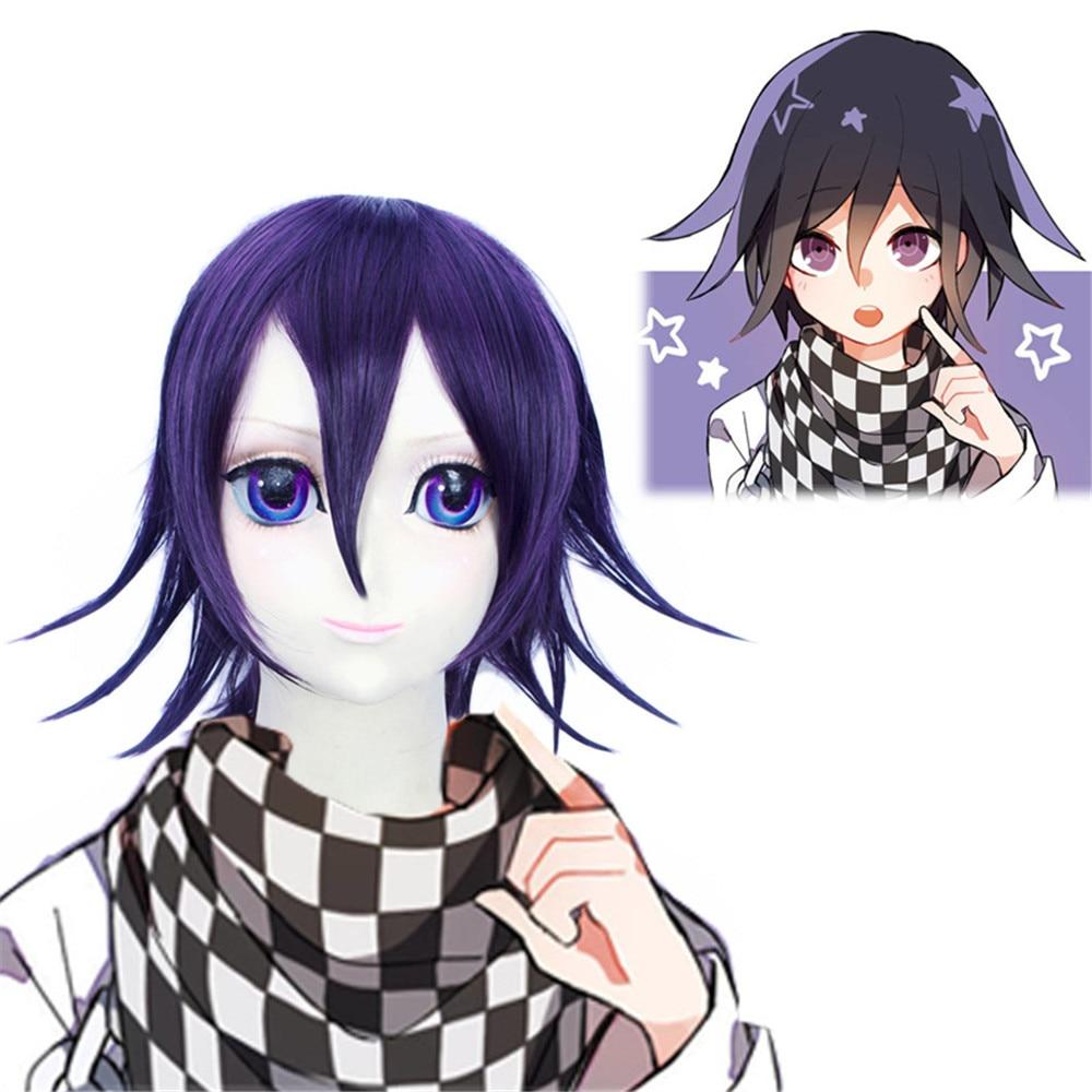 Danganronpa V3: Killing Harmony Ouma Kokichi Cosplay Wig for Man Boys Short Straight Anime Wig Christmas Party Gift Blue Black