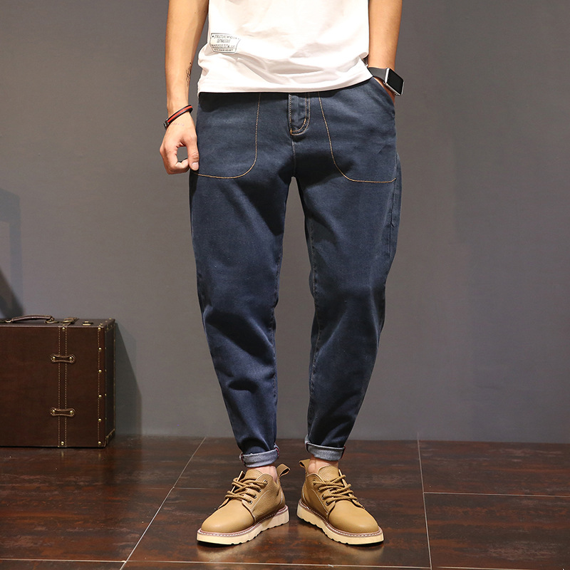 large size casual Elastic long trousers men Hip hop fashion brand Elastic Loose Harem pants biker Blue jeans Vaqueros Hombre hot new large size jeans fashion loose jeans hip hop casual jeans wide leg jeans