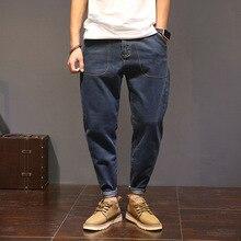 Большой размер случайные упругие длинные брюки мужчины hip hop мода марка упругие свободные шаровары байкер джинсы вакеро hombre