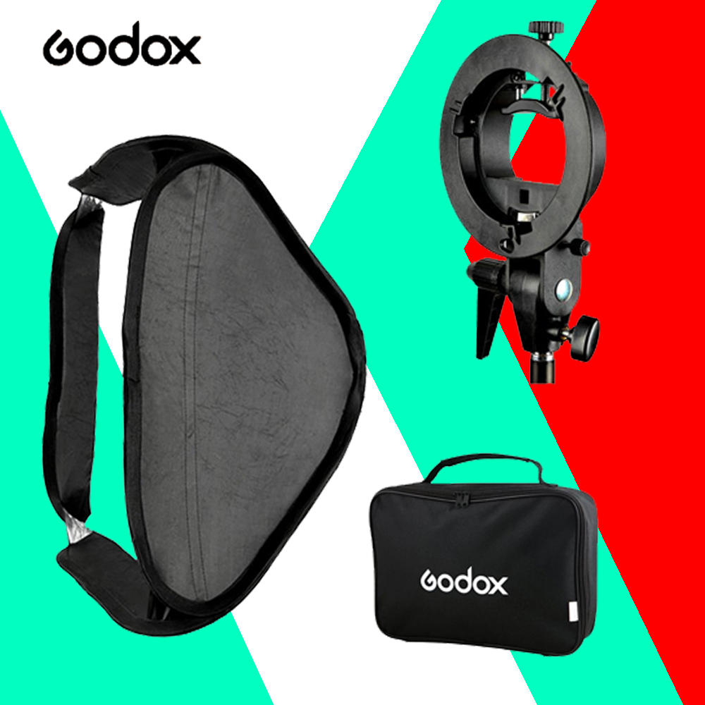 "Godox 40 * 40cm / 15"" * 15""  Ajustable Foldable Softbox Diffuser & S-type Bracket Bowens Holder for Flash Speedlite Studio Photo от Aliexpress INT"