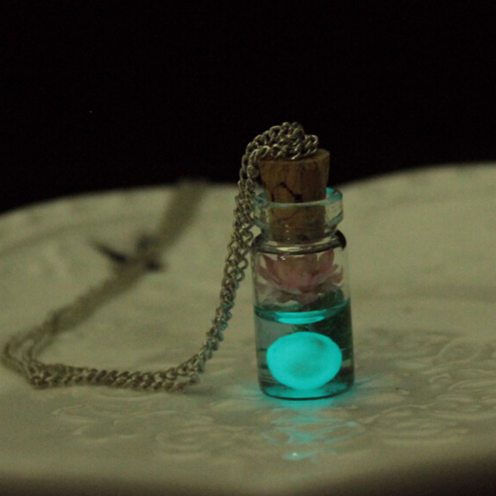 Hot Sale Vintage Luminous Glow Dark Flower Pendant Fluorescent Glass Drift Bottle Necklace Gift Jewelry 4
