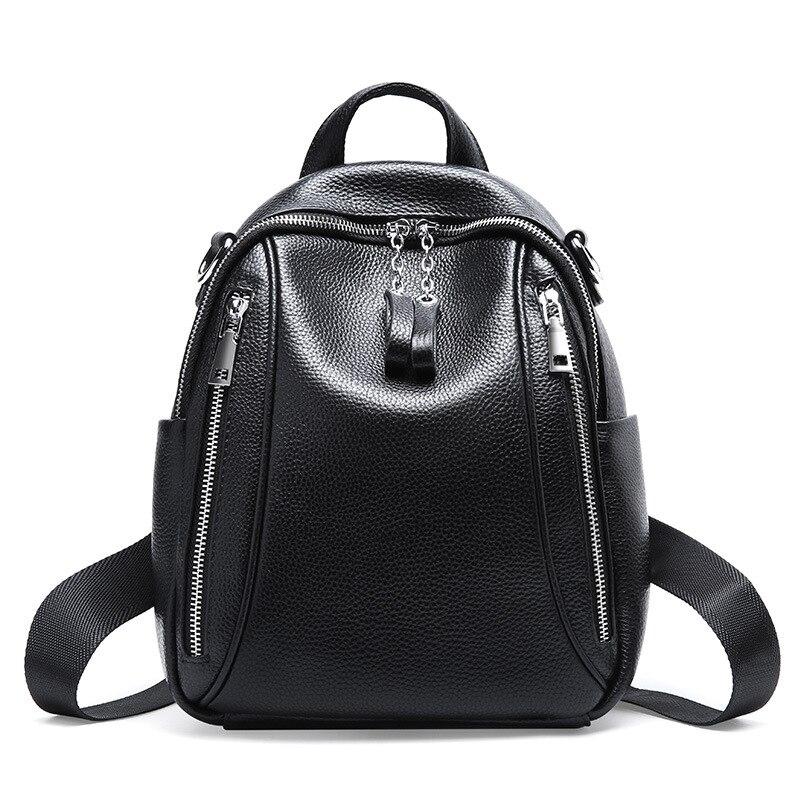 HMILY Frauen Rucksack Aus Echtem Leder Weibliche Schulter Tasche Schwarz Süße Teenager Schule Tasche Mädchen Trendy Dame Reisetasche-in Rucksäcke aus Gepäck & Taschen bei  Gruppe 1